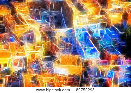 Colourful Oriental city background for creative design with saturated colours