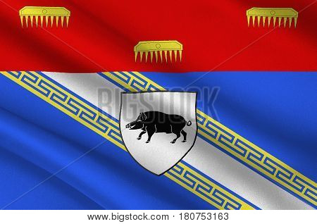 Flag of Ardennes is a department in the Grand Est region of northeastern France. 3d illustration