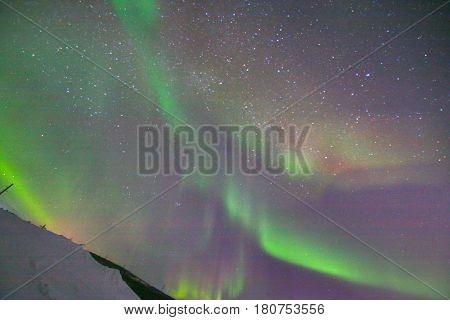 Northern Lights Aurora Borealis in Murmansk , Russia