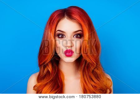 Close-up Portrait Of Funny Attractive Cute Girl With Long Ginger With Dye Ombre Fair Hair Pout Lips