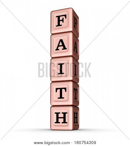 Faith Word Sign. Vertical Stack of Rose Gold Metallic Toy Blocks. 3D illustration isolated on white background.