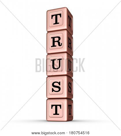 Trust Word Sign. Vertical Stack of Rose Gold Metallic Toy Blocks. 3D illustration isolated on white background.