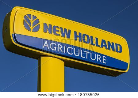 Lafayette - Circa April 2017: Logo And Signage Of New Holland Agriculture. New Holland Manufactures