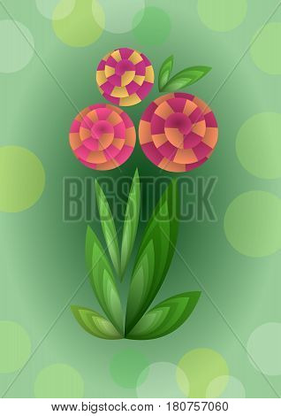Cubist bouquet with orange flowers 3d effect optical illusion decoration on green background nice spring or summer illustration vector EPS 10