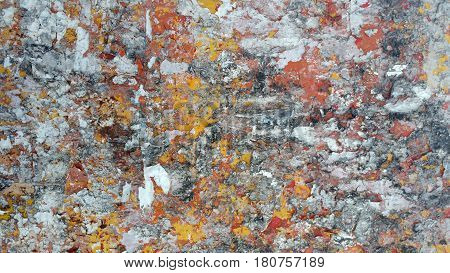 old torn posters on grunge wall texture pattern background
