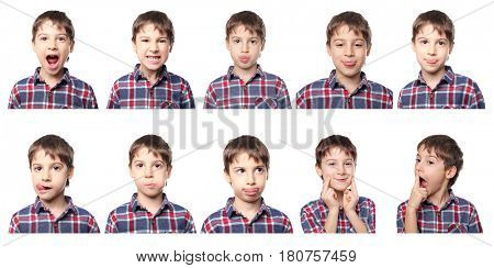 Speech therapy concept. Little boy doing exercises for correct pronunciation on white background