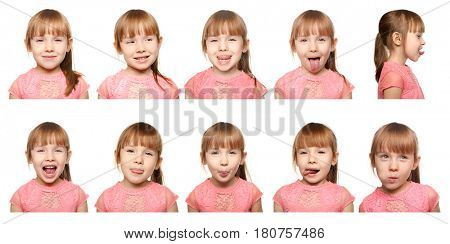 Speech therapy concept. Little girl doing exercises for correct pronunciation on white background
