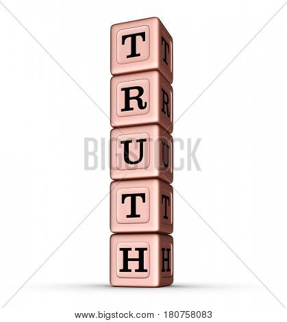 Truth Word Sign. Vertical Stack of Rose Gold Metallic Toy Blocks. 3D illustration isolated on white background.