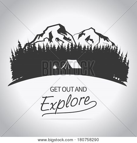 Adventure logo. Outdoor expedition typography, poster with mountains and pine trees, bonfire and tent. Climbing, Trekking, Hiking, Mountaineering stamp, hipster wear emblem. vector
