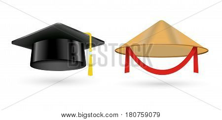 Different kind of fashion vietnam hat modern elegance graduation cap element and garment textile accessories top classic clothes vector illustration. Personal design style headdress clothing.