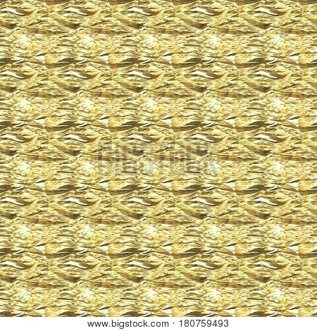 Beautiful seamless background with crumpled gold foil.
