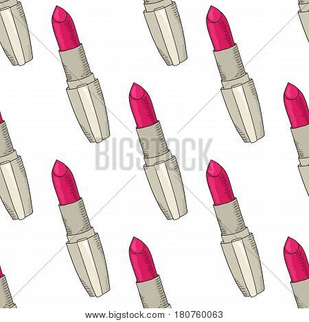 Hand drawn cosmetics pattern. Beauty and makeup. Lipstick