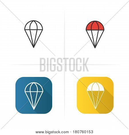 Parachute icon. Flat design, linear color styles. Isolated vector illustrations