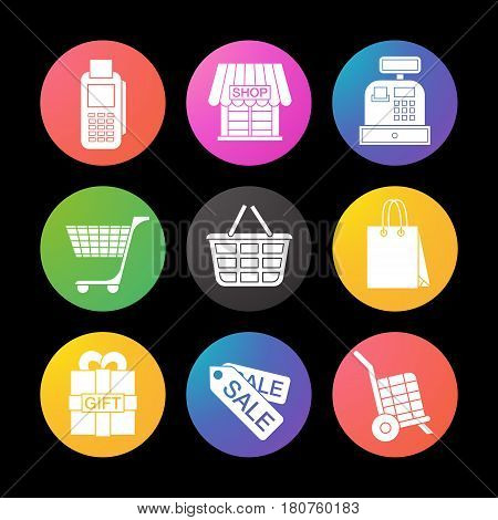 Shopping color icons set. Cash register, bag, tags, basket on wheels, store, gift box. Smart watch UI style