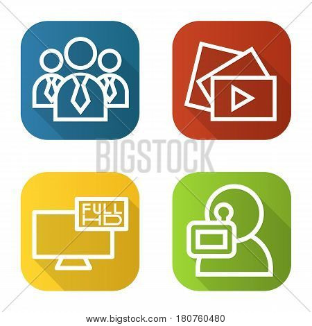 Filming flat linear long shadow icons set. Men in ties, video play button, Full HD television, videographer. Vector line illustration