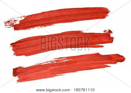 Set of red acryl brush strokes isolated on the white background
