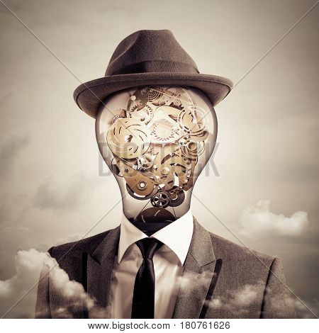 Man with a Bulb light with system of mechanical gears as head. Ingenious head concept. 3D Rendering