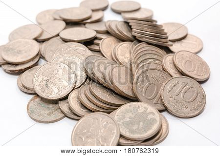 Russian Ancient Coins. Coins Of The Ussr. Coins On A White Background.