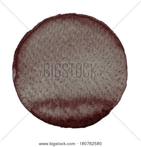 Watercolor abstract brown circle isolated on white background. A modern spot of round shape painted in watercolor in shades of hickory pecan chocolate and penny colors. Trendy watercolour texture