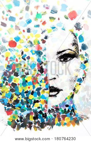 Half of a woman's face is uncovered behind a burst of colour