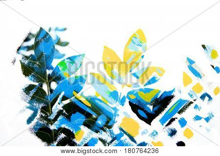 Close-up of leaves combined with blue and yellow brushstrokes