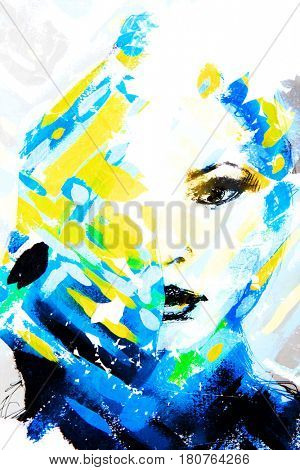 Hand painted portrait combined with blue and yellow criss cross