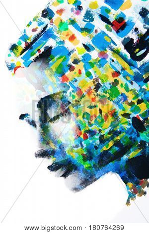 Two paintings: Colourful brushstrokes combined with a woman's profile