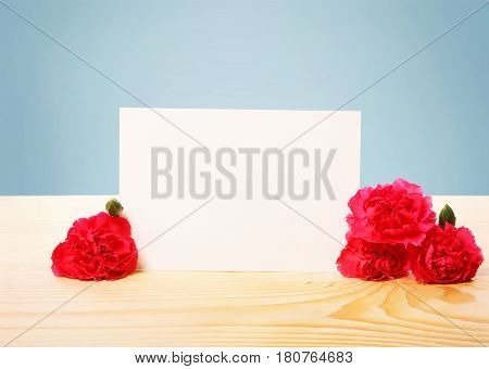 Blank Off White Greeting Card with Attractive Carnation Flowers on Top of a Wooden Table with Blue Background