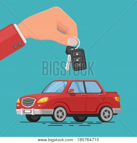 Colorful vector illustration of a car rental or sale. Hand holding car keys. Test drive. Automobile rental business. Selling, leasing car service.