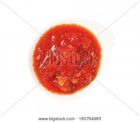 bowl of tomato-based dipping sauce or pasta sauce
