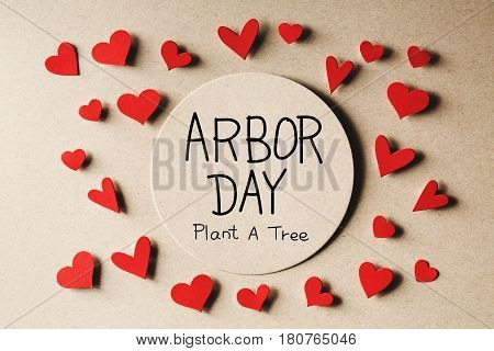 Arbor Day Message With Small Hearts