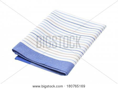 blue and white striped dish towel on white background