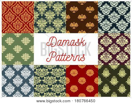 Damask pattern set and seamless vector flourish tracery Floral adornment of luxury ornamental and antique flowers. Vintage baroque or rococo motif design for interior decor ornaments and tiles poster