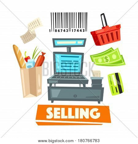 Shop vector icons and retail selling items set of cash desk, purchase bar code, supermarket shopping cart or basket, credit card and money banknotes, grocery products paper bag and check receipt