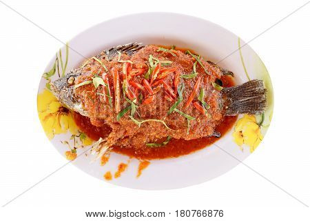 Top view of A Fried spicy Nile Tilapia