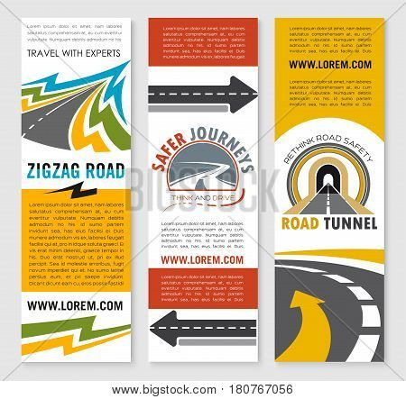Road trip and safety travel company banners set. Vector templates for highway or tunnel construction and transportation or tourist journey service. Symbols of motorway and drive lane marking