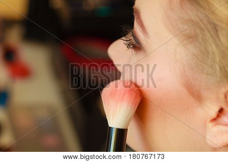 Close Up Woman Getting Make Up, Blush