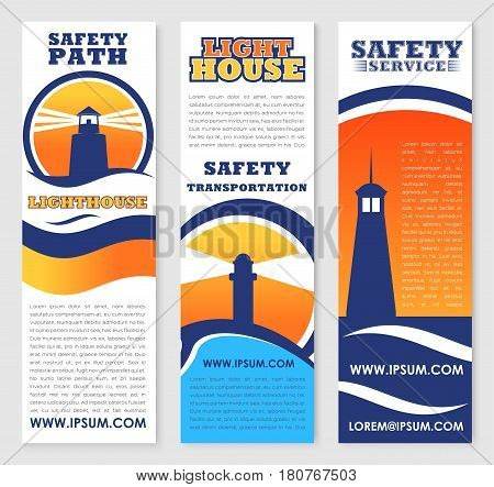 Safety marine and ship transportation banners set with vector lighthouse or beacon symbols. Safe seafaring service company in maritime transport navigation templates set