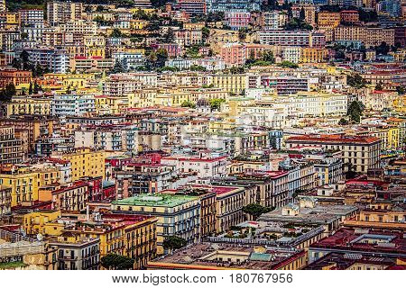 A view from above of downtown Naples Italy.
