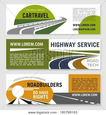 Highway service or road travel company vector banners set. Business templates for transportation and building of motorways worker association or road builders investment corporation