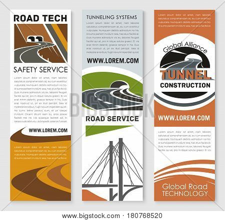 Road safety service banners set for highway construction technology company. Vector templates set for transport tunneling pathway and motorway bridge building and transportation corporation