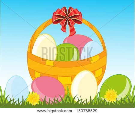 Basket with painted peaster egg on green herb