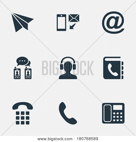 Vector Illustration Set Of Simple Communication Icons. Elements Earpiece, Telephone Directory, House Phone And Other Synonyms Earphone, Talking And Mail.