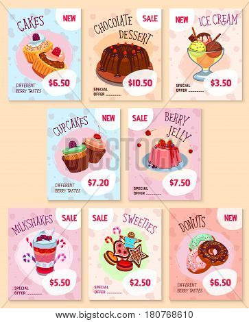 Price tags for bakery desserts. Vector special offer or discount card labels for pastry cakes, torte pies and cupcakes. Set of cookies and berry tarts or cheesecakes for patisserie menu