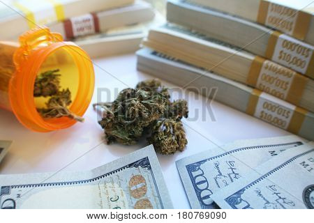 Cannabis With Prescription Bottle And Money High Quality