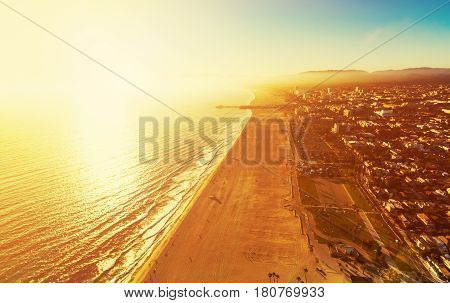 Santa Monica Beach From Above