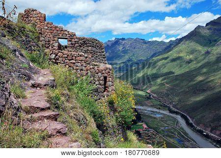 Old Inca Tower in Pisac in the Urubamba vally near Cusco, Peru