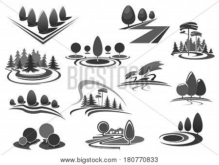 Trees and forest park icons set for landscape gardening or planting design company. Vector isolated set of green nature environment and woodlands for gardens horticulture or eco environment service