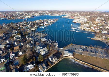 Aerial view of Rocky Neck and Gloucester Harbor in City of Gloucester, Cape Ann, Massachusetts, USA.