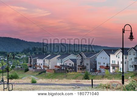 Luxury homes subdivision development in city of Happy Valley Oregon